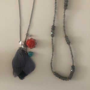 2 Long Necklaces - Feather and Beaded